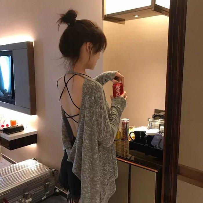 (特價)韓版性感露背上衣短袖T恤寬鬆上衣罩衫