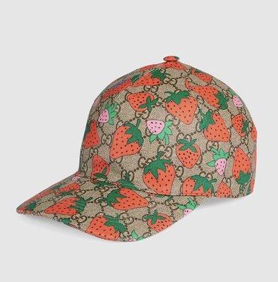 [Ohya精品代購] 2019 全新代購 GUCCI 方框 文字 鴨舌帽 棒球帽 帽子 草莓 426887