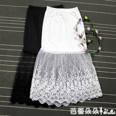 襯裙 高腰半身裙春秋新款中長款大碼包臀網紗襯裙女內搭黑色蕾絲打底裙