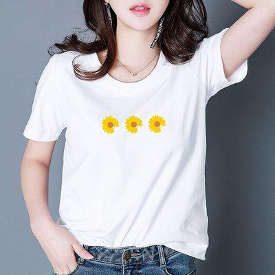 純棉小雛菊白色短袖t恤女圓領寬松顯瘦學生小清新半袖打底衫上衣