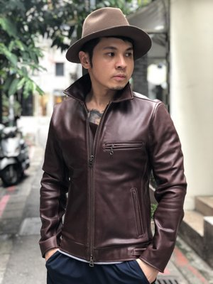 [ Satisfaction ] 日本棕紅色直拉鍊翻領小牛皮皮衣