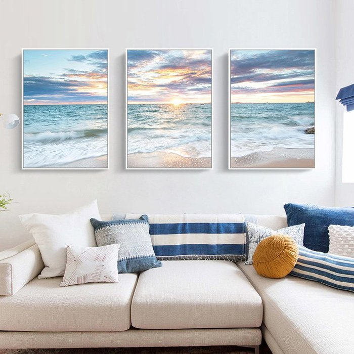 三幅一組油畫布 大海海浪夕陽日出 畫芯/畫布/30X40☺暖暖屋☺傢居藝術館