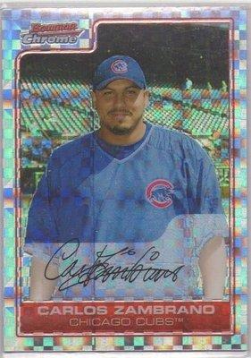 小熊隊王牌投手 Carols Zambrano 2006 Bowman Chrome 同背號#38超美大亮亮面卡 ~~ 1 of 1