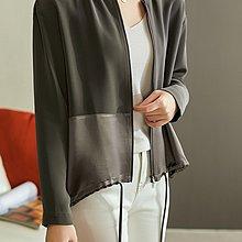 XG 時尚舒適柔軟 抗皺垂感 口袋設計 紙片人顯瘦 領口鏈珠點綴 醋酸外套 夾克