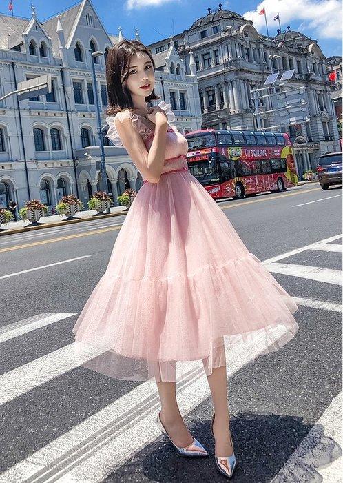 特價-無袖洋裝粉色荷葉邊飛飛袖滾邊蝴蝶結復古宮廷風大裙襬洋裝許願魔鏡@wishing Mirror-*-M18F169