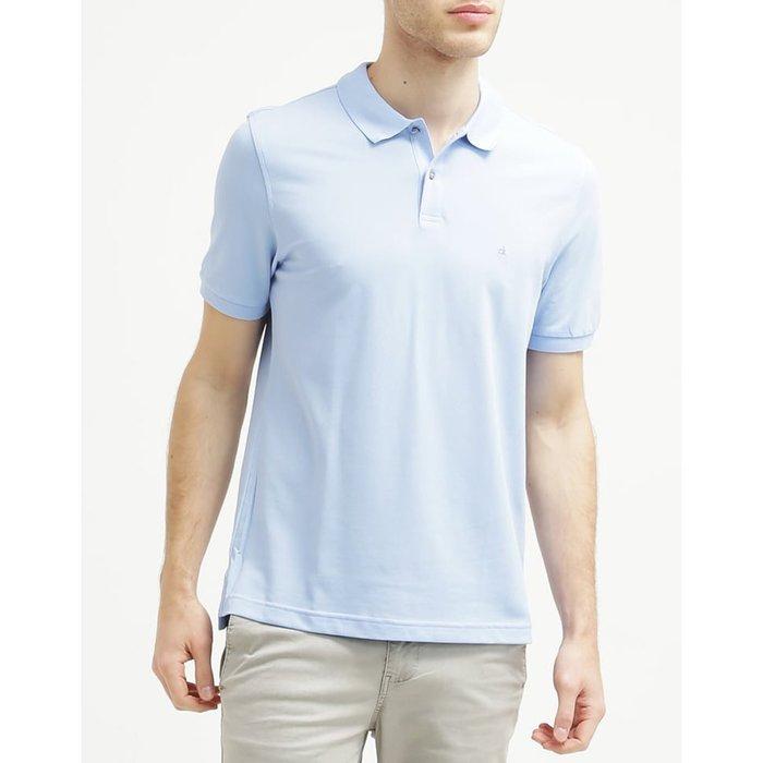 美國百分百【全新真品】Calvin Klein CK 短袖 POLO衫 Logo 素面 網眼 男 水藍 XS號 A942