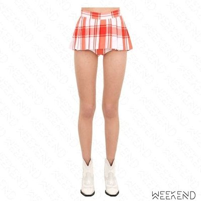 【WEEKEND】 PUSHBUTTON 大格紋 百褶 假兩件 褲裙 超短裙 含內裡熱褲 紅白