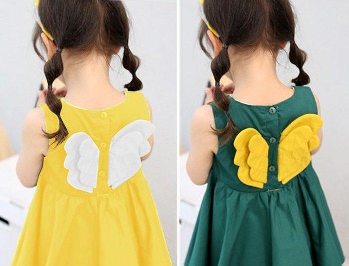 [C.M.平價精品館]100~140/可愛小天使立體翅膀棉質綠色/黃色無袖洋裝 中童/小童