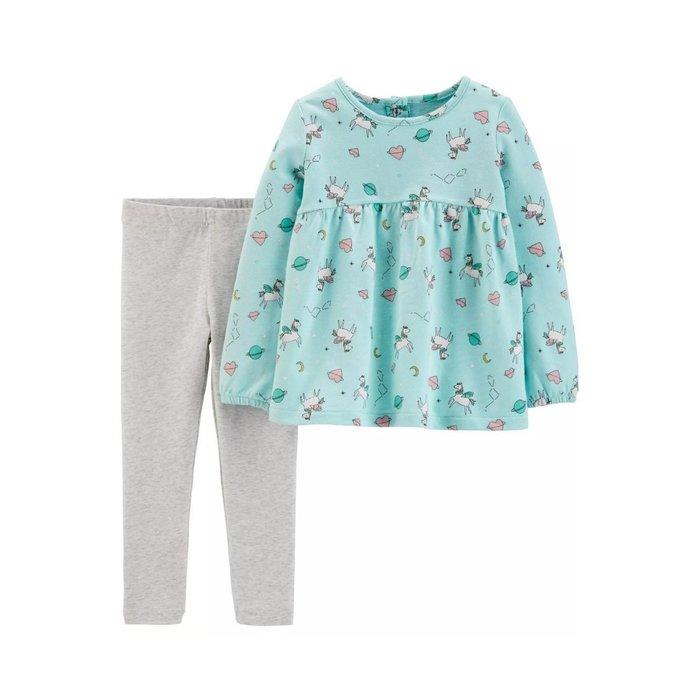【Carter's】CS女童W綠小馬T+灰長褲 F03190828-01