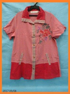 *Cary百寶盒* *~~【蘭陵】專櫃品牌~(L號)玫粉色花朵圖印格紋雙口袋中國風造型上衣--每件只要350元~~* 新北市