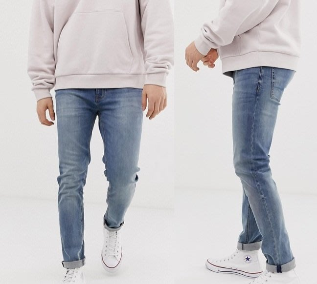 ◎美國代買◎ASOS反摺褲口經典好配色經典藍刷色顯廋牛仔褲~歐美街風~大尺碼