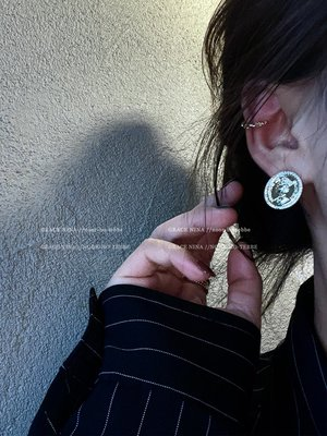 LEMON·文藝復興~復古人像金幣耳釘微鑲耳環2121年新款潮歐美氣質耳飾女