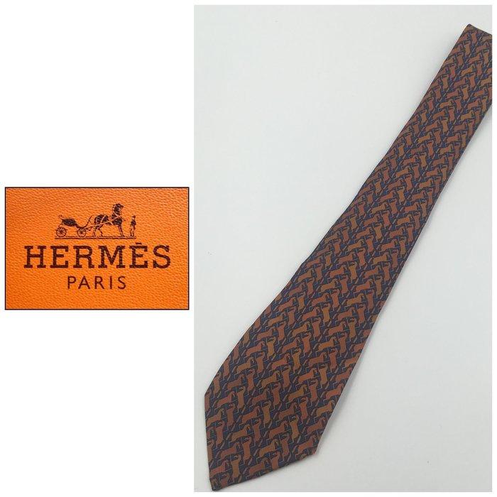 【皮老闆二店】領229 寬8cm 二手正品  法國精品 HERMES 愛馬仕 領帶