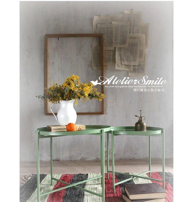 [ Atelier Smile ] 鄉村雜貨 北歐風 復古作舊 鐵製小茶几 邊桌 工業風 # 復古綠 #小  (現+預)