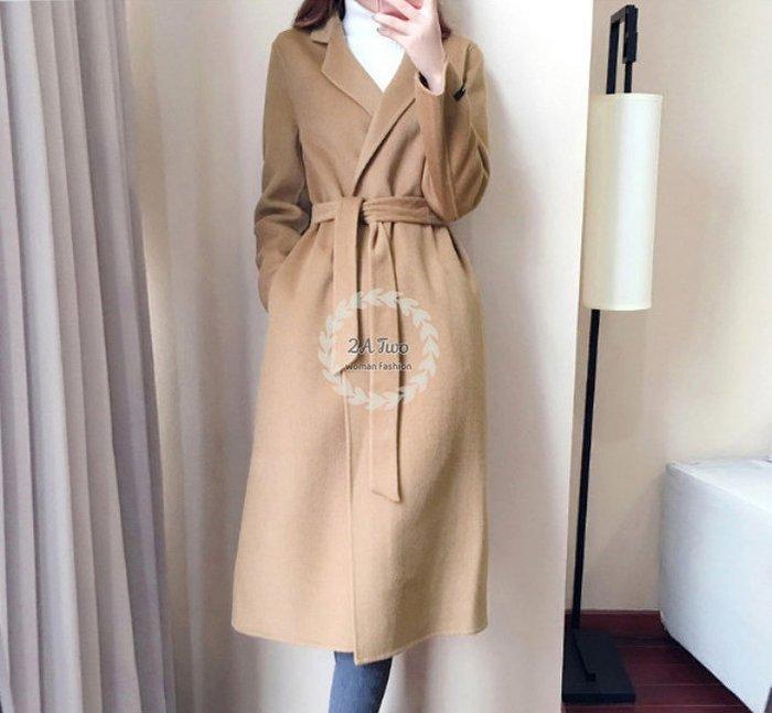 【2A Two】韓國ω翻領 毛呢大衣 羊毛呢外套『381017001』
