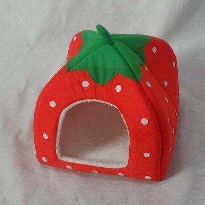 treewalkerஐ美麗讚 ஐ迷你小型寵物草莓窩 狗窩 貓窩 寵物床 strawberry 草莓遊戲屋(中號紅色x1)