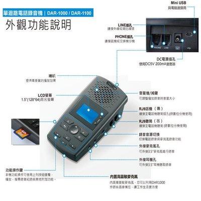 ✿國際電通✿【附8G卡】DMECOM DAR1000 電話錄音 DAR-1000 一路數位 答錄機 密錄機