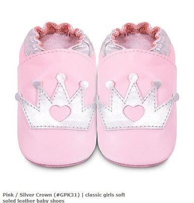 【愛寶貝】英國 shooshoos 健康無毒真皮手工學步鞋/嬰兒鞋/室內保暖鞋_淡粉銀皇冠_#GPK31(公司貨)