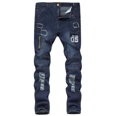 『潮范』  N4 新款男式牛仔褲 亞馬遜休閑長褲 純色印花修身破洞牛仔長褲 直筒褲