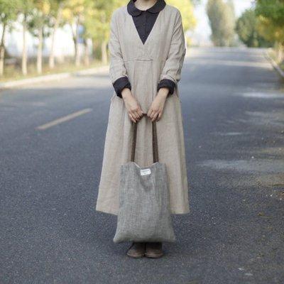 (老銀屋)秋冬大V領寬鬆高腰長袍/連衣裙