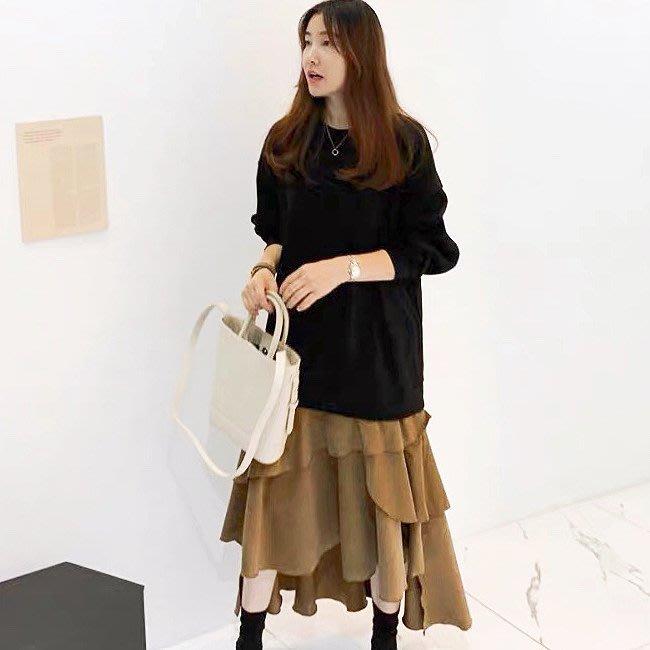 *Angel Dance*長袖洋裝(2色)@韓國 ins 假兩件 寬鬆腰 拼接 不規則 棉質 寬鬆 顯瘦@現貨+預購
