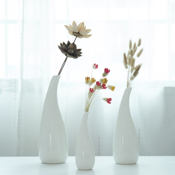 爆款ins北歐陶瓷花瓶干花插花小清新裝飾品白色簡約現代客廳餐桌擺件#簡約#陶瓷#小清新