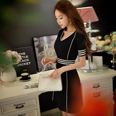 短袖洋裝韓版黑色V領羅紋拼接休閒收腰顯瘦短袖洋裝許願魔鏡@wishing Mirror-*-D16BDR378