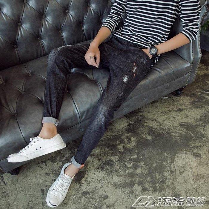 秋男士牛仔褲韓版修身破洞小腳褲黑色鉛筆褲潮流休閒長褲子學生