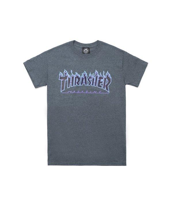 THRASHER FLAME LOGO - DARK HEATHER【HopesTaiwan】
