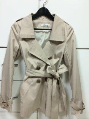 全新SNIDE簡約大衣領收腰雙排扣蝴蝶結外套