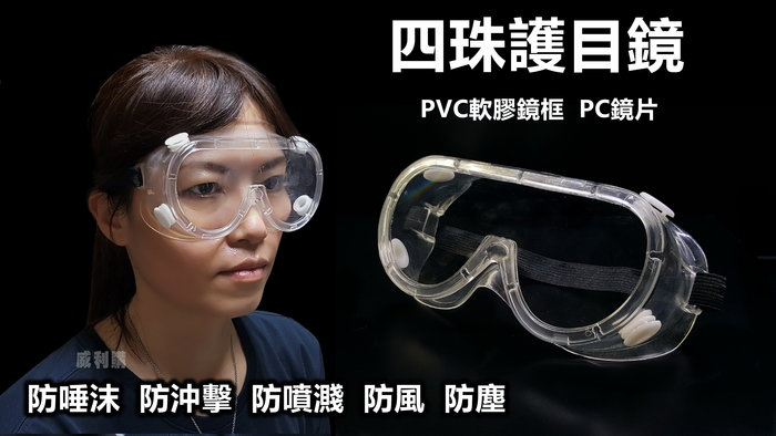 【威利購】四珠護目鏡 工作防護眼鏡 實驗室眼鏡 防唾沫 防風沙 防噴濺 防衝擊