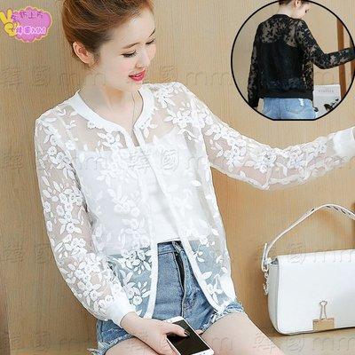 韓國MM= 春夏新款歐根紗外套短款蕾絲刺繡花朵顯瘦透氣防曬衣 =針織外套/薄外套/牛仔外套/棒球外套/夾克