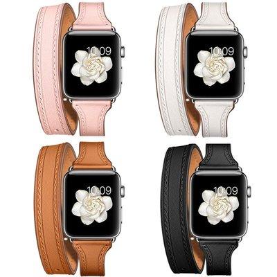 【麗魅生活】【官網款】iwatch表帶真皮小牛皮雙圈12345代蘋果手表Apple-rll