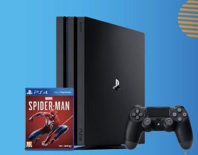 PS4 Pro 1TB主機 台灣公司貨 (黑色) 加贈漫威蜘蛛人 中英文版  不含直立架 免運  現貨供應中 可馬上出貨 歡迎高雄市面交