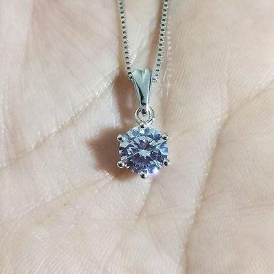 爪镶 1.5克拉高碳鑽仿真鑽石項鏈女鑽...