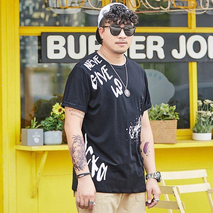 時尚服飾潮胖子男士新款夏季短袖t恤肥佬特大碼寬松胖人加肥加大號250斤