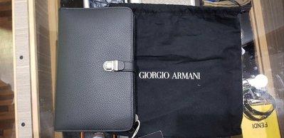 【EZ兔購】~正品美國 GIORGIO ARMANI 亞曼尼 頂級 GA 小牛皮皮夾 手拿包 ~現貨 還有
