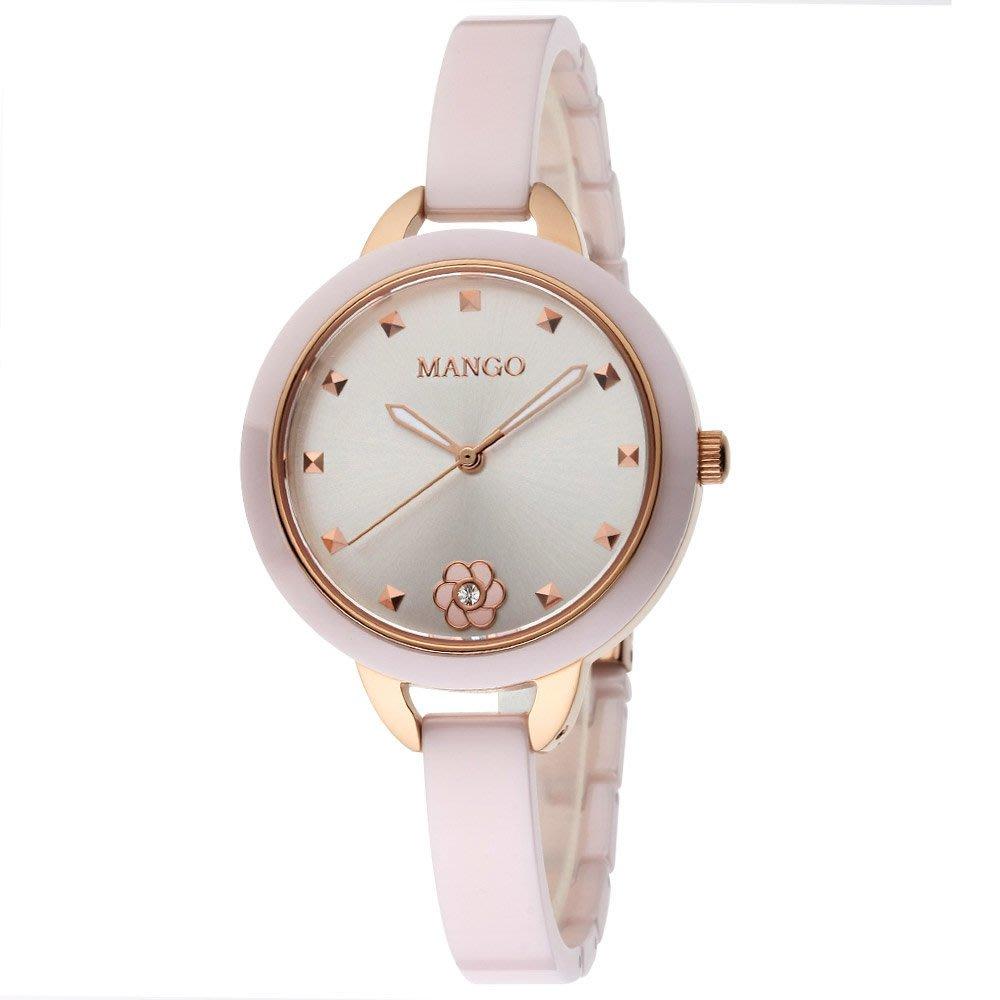 MANGO 陶瓷時尚腕錶 女錶 粉x玫瑰金 山茶花陶瓷錶 粉紅色 MA6689L-10