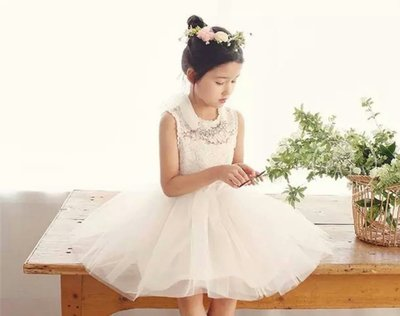 ZN 韓國進口網紗蓬蓬裙 女童裝 公主裙 無袖洋裝 花童禮服 雪紡閃亮水鑽項鍊 120cm現貨