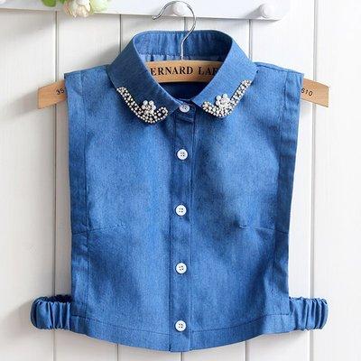 假領子襯衫領片-牛仔藍珍珠鑲鑽純棉女裝配件73vk33[獨家進口][米蘭精品]