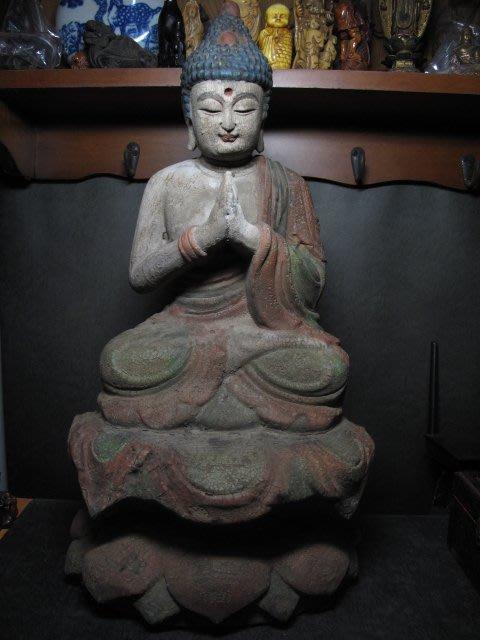 老木雕◎ 樟木 礦物彩  釋迦牟尼佛