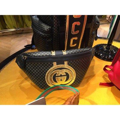 全新正品 Gucci & Dapper Dan 聯名 黑色 牛皮 金色 GG 腰包 536416