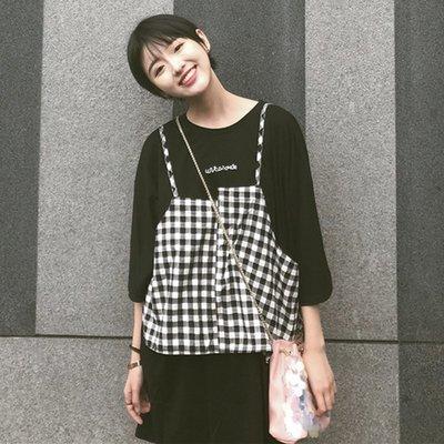 吊帶小清新套裝韓版顯瘦學生微胖減齡裙子遮肉原宿風女bf韓國寬松