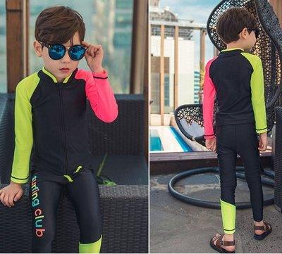 【小阿霏】兒童防曬泳衣 男童黑底撞色兩件式長袖長褲泳裝 中小中大童速乾分體式衝浪衣潛水衣SW152
