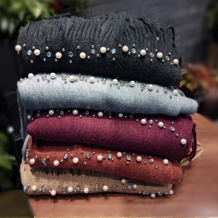 日本秋冬羊毛圍巾 珍珠圍巾 奢華鑽石珍珠羊毛圍巾 羊毛披肩 加厚 加長 圍脖 圍巾