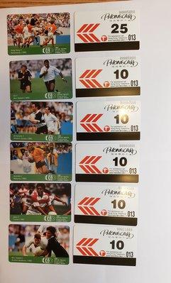 「七人欖球 Rugby Sevens」電話卡第二套6全新卡,贈送「七人欖球」電話卡第三套2全舊卡。