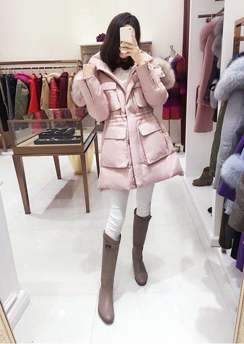 限量粉色下標區  東大門 實拍照片白鴨絨,奢華真毛領 收腰 抽繩 保暖羽絨外套大衣