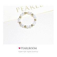 * 微奢 3mm金色隔珠天然淡水珍珠戒指