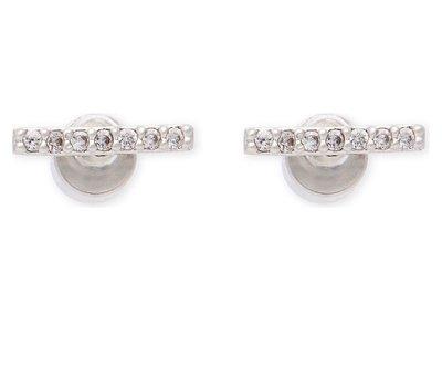 (預購)英國 ASTRID & MIYU Hold On small silver earrings 單排鑽 個性耳環