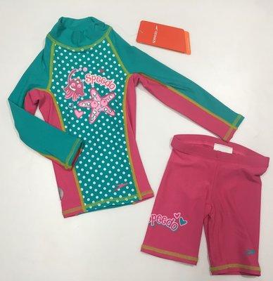 SPEEDO 泳裝 兒童泳衣 兒童長袖防曬衣 游泳衣褲組 UPF 50+ 抗UV 尺寸:92,110cm